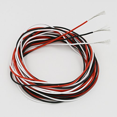BNTECHGO 22 Gauge Silicone Wire 30 feet 3 Colors [10 ft:Black,Red And White] Soft and Flexible High Temperature Resistant Highly Efficient 22 AWG Silicone Wire 60 Strands of copper wire
