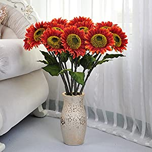 Emulation flower sunflower large flower sunflower long branches to ceiling living room with floral arrangement in Silk flower artificial flowers plastic flowers sunflower high 82cm 37