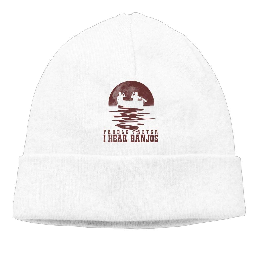 Red Paddle Faster I Hear Banjos Beanie Knit Hat Skull Cap Mens