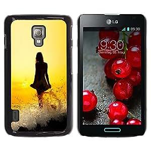 Be Good Phone Accessory // Dura Cáscara cubierta Protectora Caso Carcasa Funda de Protección para LG Optimus L7 II P710 / L7X P714 // Lady Dress Girl Yellow Fiery Sunset Ocean