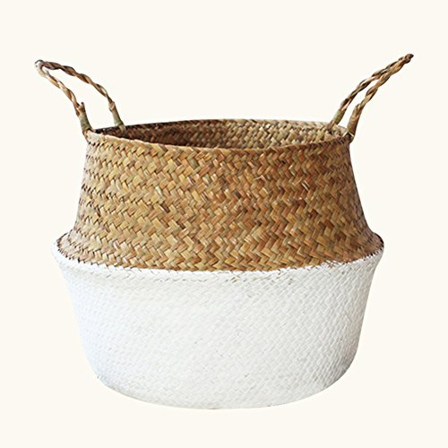Hand-Woven Foldable Storage Basket, Hand-Knotted Natural Seagrass Belly Basket Oganizer for Dirty Clothes/Fruit/Toys/Plant Flower Pots (Natural Hand Knotted)