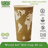 Eco-Products ECOEPBHC20WAPK World Art Hot Beverage Cups, PLA Lining, Leak Proof, Natural Plastic (Pack of 50)