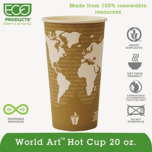 Eco-Products EPBHC20WAPK World Art Renewable & Compostable Hot Cups Convenience Pack - 20 oz, 50/PK