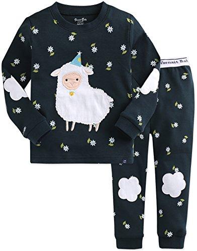 Vaenait baby Kids Girls 100% Cotton Sleepwear Pajamas 2pcs Set Lamb Bloom M
