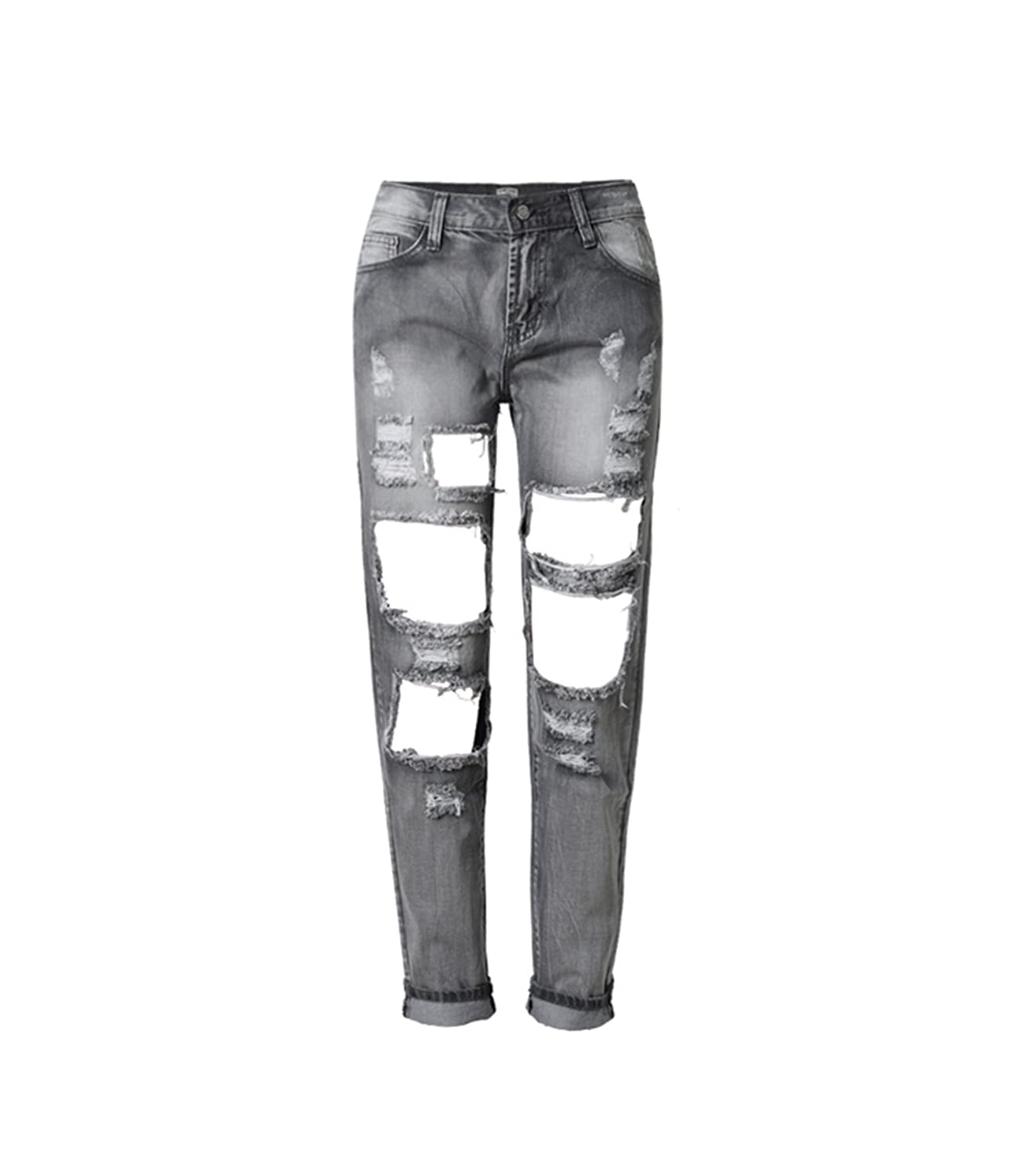 Friendshop Womens Boyfriend Ripped Knee Holes Denim Jeans Destroyed Jogger Pants