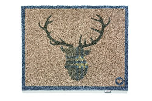 Hug Rug T138 Eco-Friendly Absorbent Dirt Trapping Indoor Washable Mat, 25.5-Inch x 33.5-Inch, Deer Buck Antler (Welcome Deer)