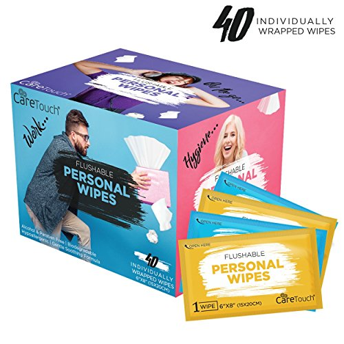 Personal Care Wipes (Care Touch Flushable Personal Wipes for Men and Women, 40 Individually Wrapped Wet Wipes)