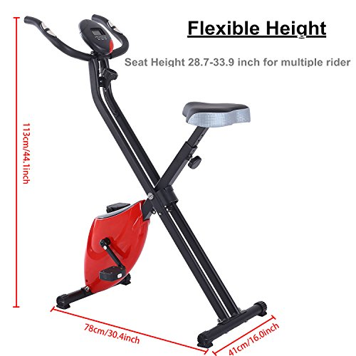 Foldable Magnetic Upright Bike Indoor Exercise Cycling Fitness Machine with Pulse Sensors and LCD Display (Red) [US STOCK]