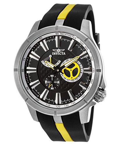 Invicta 20332 Gent's Black Dial Black & Yellow Rubber Strap Watch
