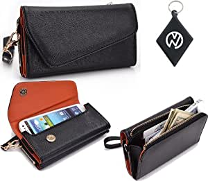 Black-Orange [Urban Series] Wallet Clutch Phone Cover May Fit i-mobile 5230 + NuVur ™ Keychain [ESMLUBO1]