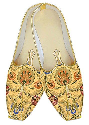 INMONARCH Amarillo Kheenkhap Hombres Zapatos de Boda Tradicional MJ18419