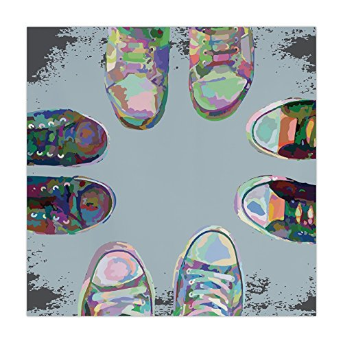 - Satin Square Tablecloth,Modern Decor,Teen Rubber Rebel Rocker Shoes in Street Squad Friends Gang Abstract Image,Multicolor,Dining Room Kitchen Table Cloth Cover