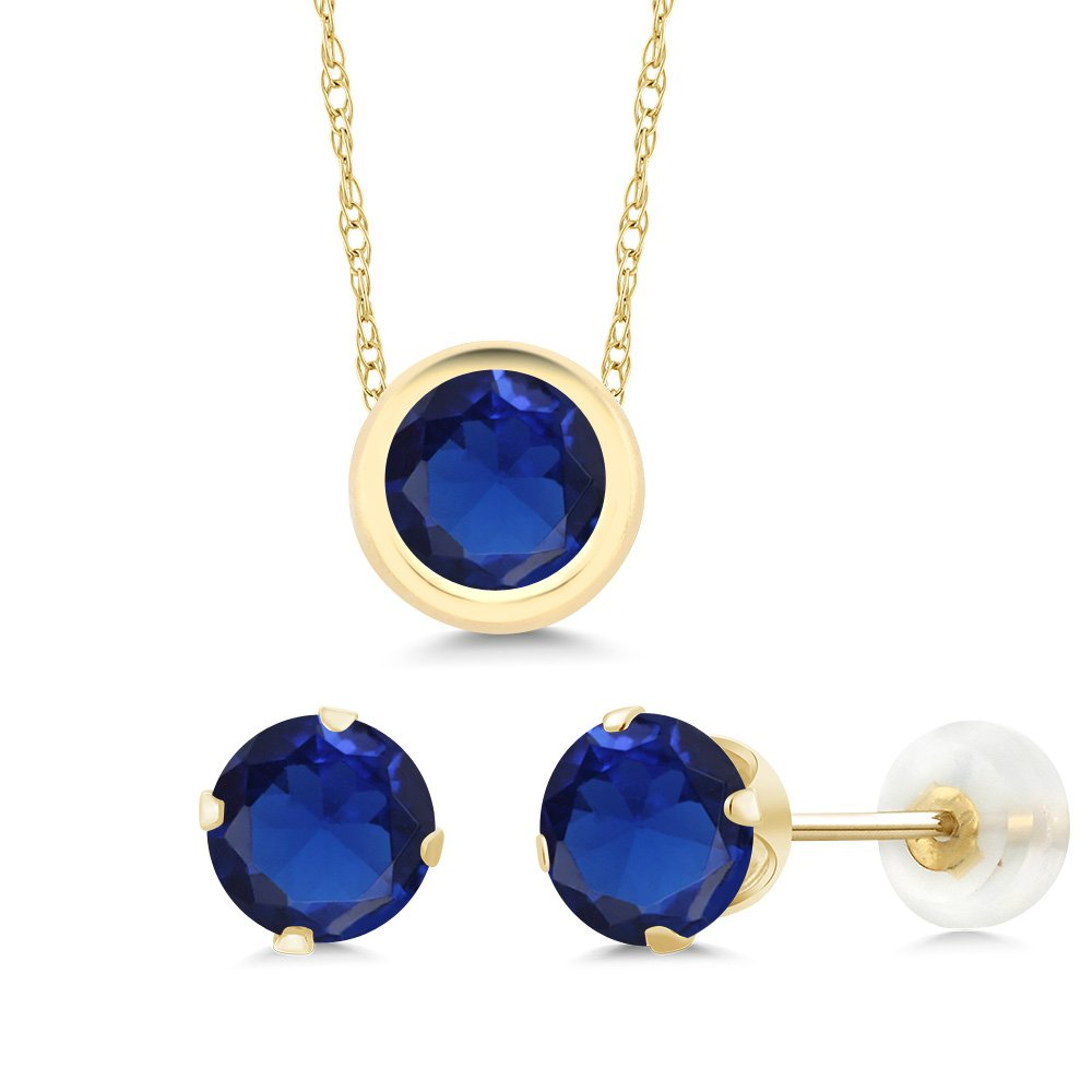 3.00 Ct Round Blue Simulated Sapphire 14K Yellow Gold Pendant Earrings Set