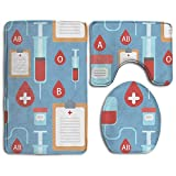 YUSHIHUA Bath Mat 3 Piece Flannel Bathroom Rug Set,Creative Medical Shading Pattern Design Shower Mat And Toilet Cover, Non Slip And Extra Soft Toilet Kit, Anti Slippery Rug