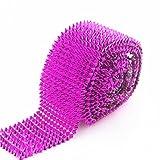 AEAOA 1 Yard Fuchsia Hot Pink Sew Stitch On Spike Stud Cone Flatback Punk Rock Trim mesh Bead Craft (Fuchsia)