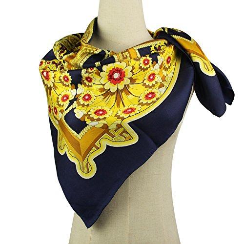 Women's Square Silk Twill Scarf - Pantonight Large Square silk head scarf for women Navy Blue Flowers