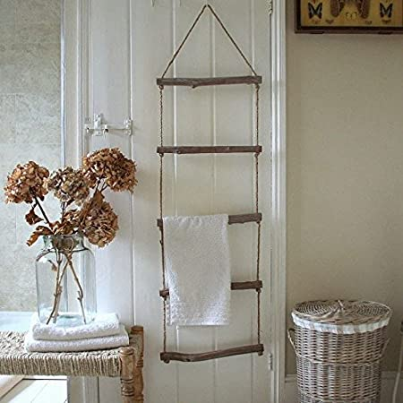 Shabby Chic Wooden Rope Ladder Towel Rail Rack Bathroom Bedroom Vintage  Style