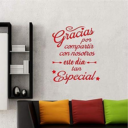 wmyzfs Pegatina España Gracias Compartir Aplique de Pared de Vinilo Adhesivo Mural Arte de la Pared Cartel Sala de Estar decoración del hogar decoración de la casa 50x80 cm: Amazon.es: Hogar
