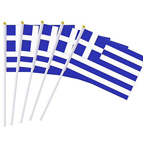Kind Girl 25 Pack Hand Held Small Mini Flag Greece Flag Greek Flag Stick Flag Round Top National Country Flags,Party Decorations Supplies for Parades,World Cup,Festival Events,International Festival ()