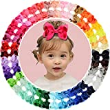 40pcs 3'' Grosgrain Ribbon Hair Bow Alligator Clips Hair Accessories for Baby Girls Infants Toddler Teens Kids 40 Colors