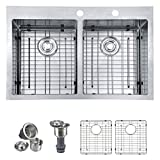 """MOWA HTD33DE Upgraded Perfect Drainage Handmade 33"""" 16 Gauge Stainless Steel Topmount 50/50 Double Bowl Kitchen Sink, Modern Tight-Radius Style & Commercial Deep Basin, w/Drain Set + Soap Dispenser"""