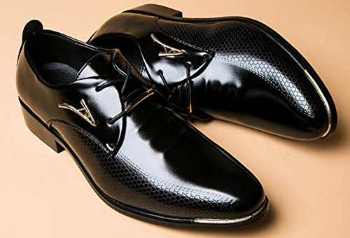 HYLM Men Business Lace-up zapatos de vestir Casual de la boda puntiaguda Toe Oxfords Black