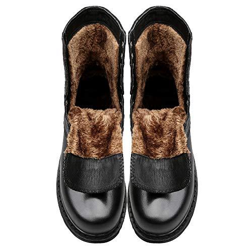 Warm para Jusheng Hombres Genuino Media Warm tamaño tamaño Color 45 Casuales Pierna de Cuero para de Moda Botas Martin EU a Gran Botas Black Black de Boots nw0xOqPnR