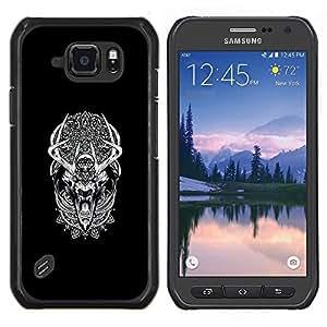 Caucho caso de Shell duro de la cubierta de accesorios de protección BY RAYDREAMMM - Samsung Galaxy S6Active Active G890A - Modelo tribal Sueño del lobo del hombre lobo