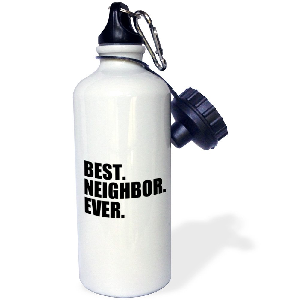 3dRose wb_151532_1 Best Neighbor Ever-Gifts for Good Neighbors-Fun Humorous Funny Neighborhood Humor Sports Water Bottle, 21 oz, White by 3dRose (Image #1)