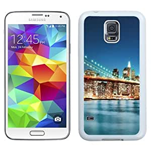 NEW Unique Custom Designed Samsung Galaxy S5 I9600 G900a G900v G900p G900t G900w Phone Case With New York City Bridge Sunrise_White Phone Case