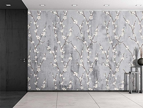 Cherry Blossoms Sitting on a Grayscale Grungy Texture with a Vignette Effect Around It Wall Mural Removable Vinyl Wallpaper