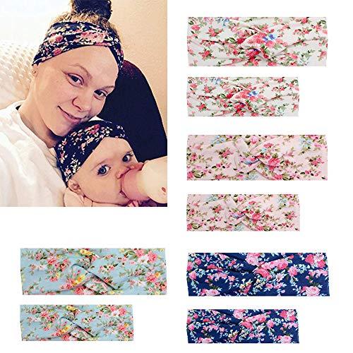Kolamom Parent Child Headbands,8 PCS Baby Mom Hair Bands Baby Head Wraps Infant Headwear Baby Headbands Nylon Elastic Headbands for Baby Girls and Mommy
