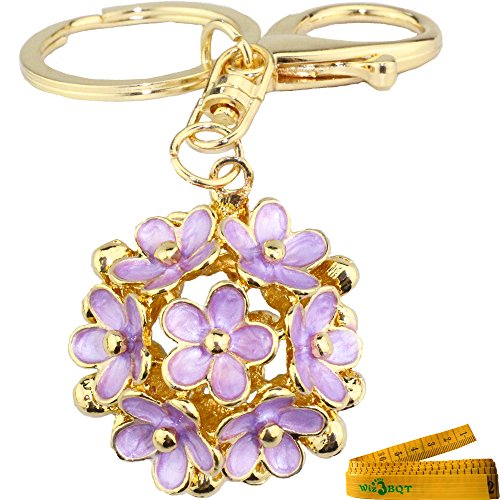 Lucky Fortunate 5 Leaf Clover Ball Shaped Engraved 3D Alloy Metal Keychain Key Ring Purse Bag Car Cell Phone Decor Pendant Ornament (Light Purple) (Mirror Ball Keychain)
