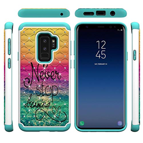Galaxy S9 Plus Case,Shockproof Slim 2 in 1 Hybrid Case Hard PC Back Cover with Point Drill & Creative Pattern Inner Soft TPU Bumper Anti-Scratch Case Compatible with Samsung Galaxy S9 Plus -Dreaming