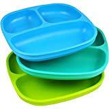 3-Pack Recycled Milk Jugs, BPA-free Divided Plates, Blue/Aqua/Green
