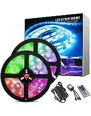 ShinePick taśma LED 5 m, 150 diod LED RGB SMD 5050, zmiana koloru, łańcuch świetlny LED z pilotem zdalnego sterowania z 44 przyciskami, do domu, sypialni, TV, szafy, na imprezę, dekoracja wakacyjna