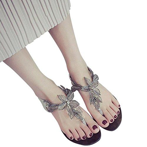 Damen Zehentrenner, Yogogo Fette Perlen Blumen Sandalen Damen Bohemia Beach Flip Flops Schuhe Silber