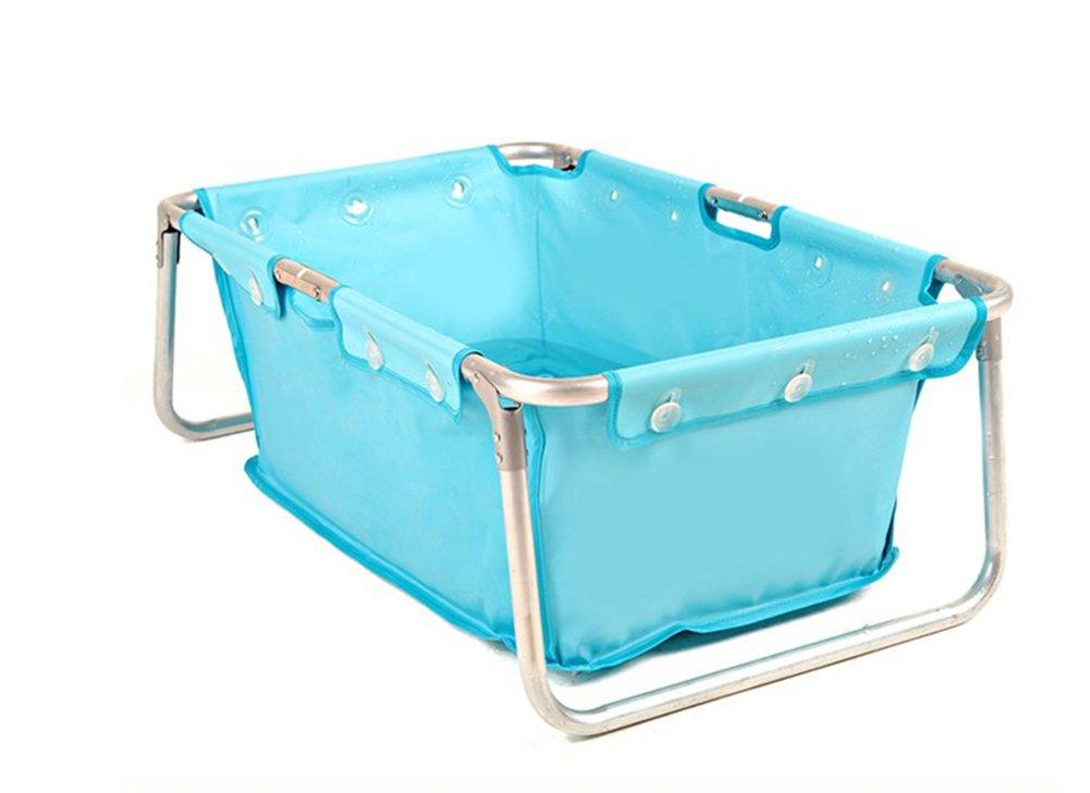 Inflatable Bathtub, Plastic Household Round Bathtub Thickened Folding Portable Bath Adult Bathtub Outdoor Swimming Pool/blue/pink (Color : Blue)