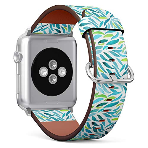 Compatible with Big Apple Watch 42mm & 44mm Leather Watch Wrist Band Strap Bracelet with Stainless Steel Clasp and Adapters (Watercolor Green Wall ()