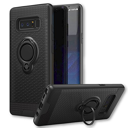 Galaxy Note 8 Magnetic Ring Kickstand Car Phone Case, Trrendy [Magneto Series] Hard Armor PC + TPU 2 in 1 Shockproof 360 Degree Rotating Finger Holder Case For Samsung Galaxy Note8 (Midnight Black) Carbon Creations Grips