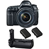 Canon EOS 5D Mark IV DSLR Camera with 24-105mm f/4L II Lens (USA Warranty) + Canon BG-E20 Battery Grip + 2 Spare Batteries