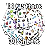 30 Sheets 180 Temporary Tattoos of Battle Royale Characters | Birthday Party Supplies Favors | Easy to Use | Safe | Durable | Tattoos for Children | Multiple Designs | Non-toxic (Creative Bundle)