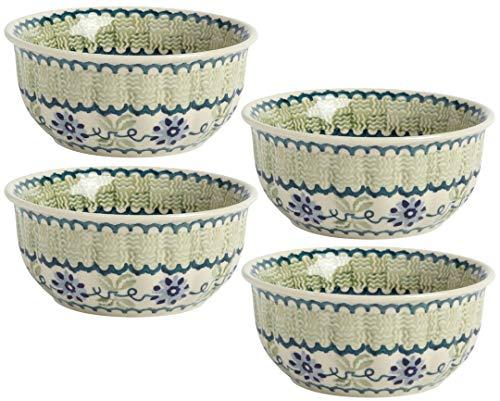 "Polish Pottery Green & Blue Floral Basketweave Soup Bowls, 5.5""L x 5.5""W x 2.5""H with 16-oz. Capacity (Set of 4) ()"