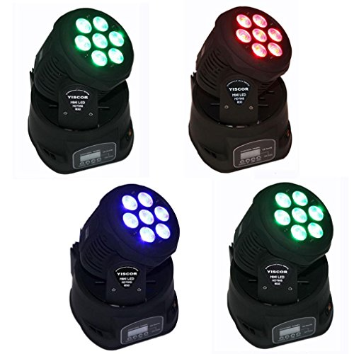 YISCOR Stage Lighting LED Moving Head Spot Light 70W RGBW (4-in-1) 7LED DMX512 12CH for Xmas Christmas Birthday Home Garden Party Effect (Pack of 4)