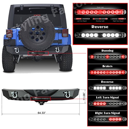 Restyling Factory JK Jeep Wrangler Rock Crawler Rear Bumper with Extras