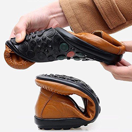 Casual Uomo T1 Flat Scarpe Outdoor on dimensioni pelle traspirante Casual CJC Sandali uomo Colore T2 Escursionismo UK8 Estate Mocassini Fashion EU42 5 Pescatore Foro Driver in da Loafe Slip f1z1q5x6vw