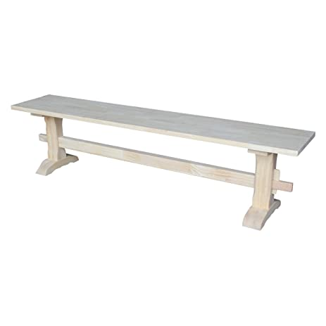 International Concepts Unfinished Trestle Bench