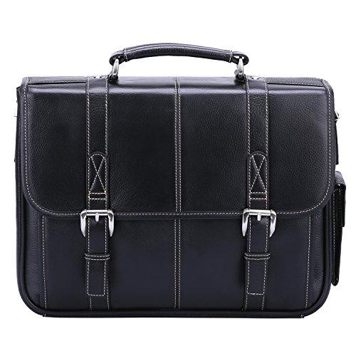 Banuce Black Genuine Leather Briefcase for Men 2way 13 inch Laptop Tote Shoulder Business Messenger Bag by Banuce