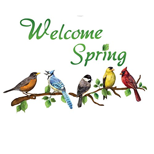 Welcome Spring Colorful Birds on Branches Garage Door Magnets