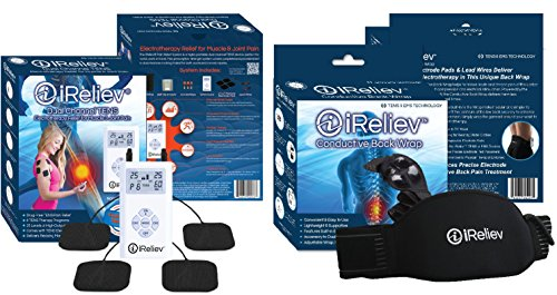 iReliev ULTIMATE TENS Bundle for Back, Knee, Shoulder, Wrist, Elbow: Comes with Conductive Back Wrap & Electrodes for Total Body Care. 100% Guaranteed. Best TENS for all Pain including Muscle (Low Back Electrode)